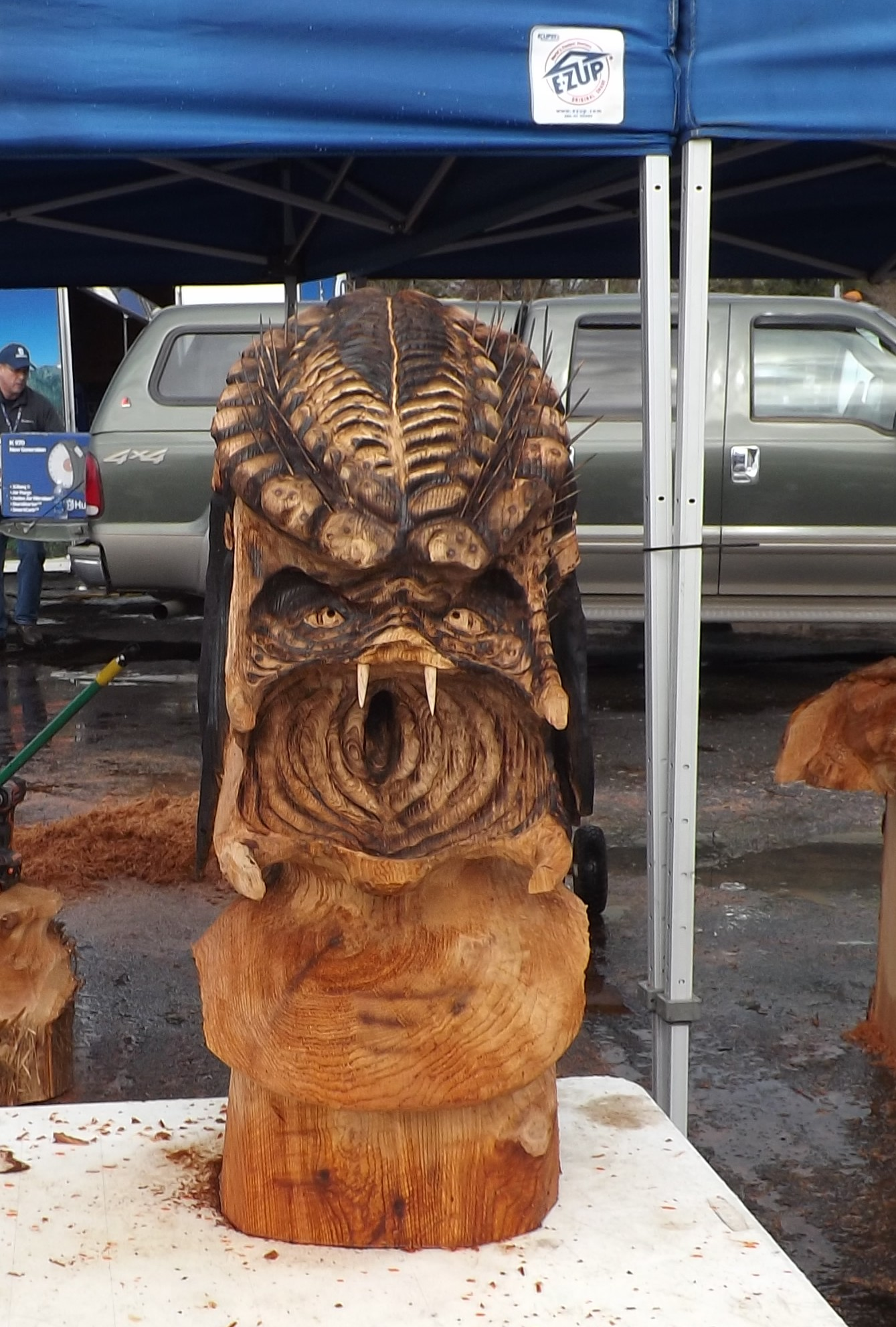 Wood Carving of Predator Alien