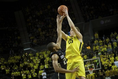 E.J Singler's last second shot to win the game was tipped and the Ducks just couldn't pull out the game. Credit: Bruce Ely The Oregonian