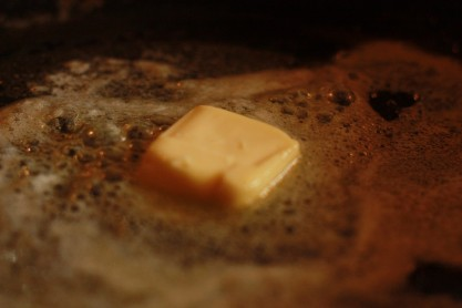 2. In a large pan, melt 1/2 of a stick of butter.