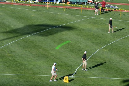 The NCAA Outdoor track and field championships were the first live athletic event to feature an in-stadium laser. (Photo courtesy Thought Development, Inc)