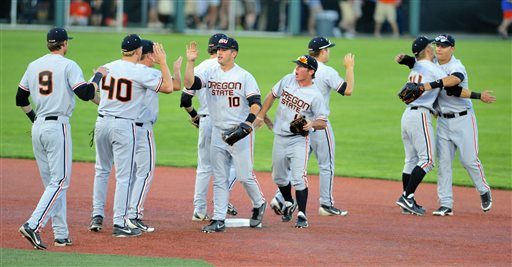 Oregon State celebrating their win over UCSB | (Greg Wahl-Stevens/AP Photo)