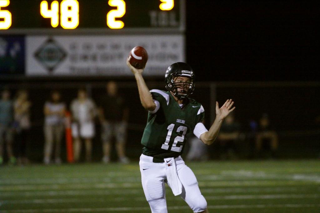 Irish quarterback Joseph Kuehn threw four TD passes in the win Friday against Lincoln. (Gary Breedlove/EDN)