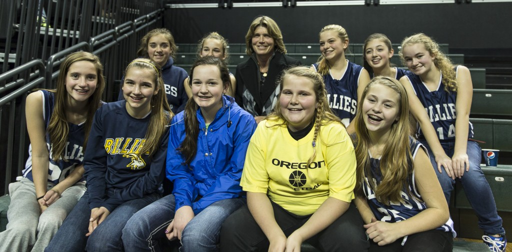 Bev Smith was in the house - posing with the Pleasant Hill girls | Photo - Dave Peaks