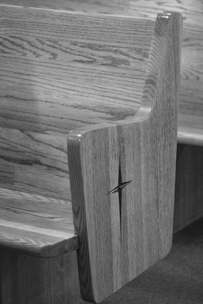 Chapel pew at the Eugene Mission