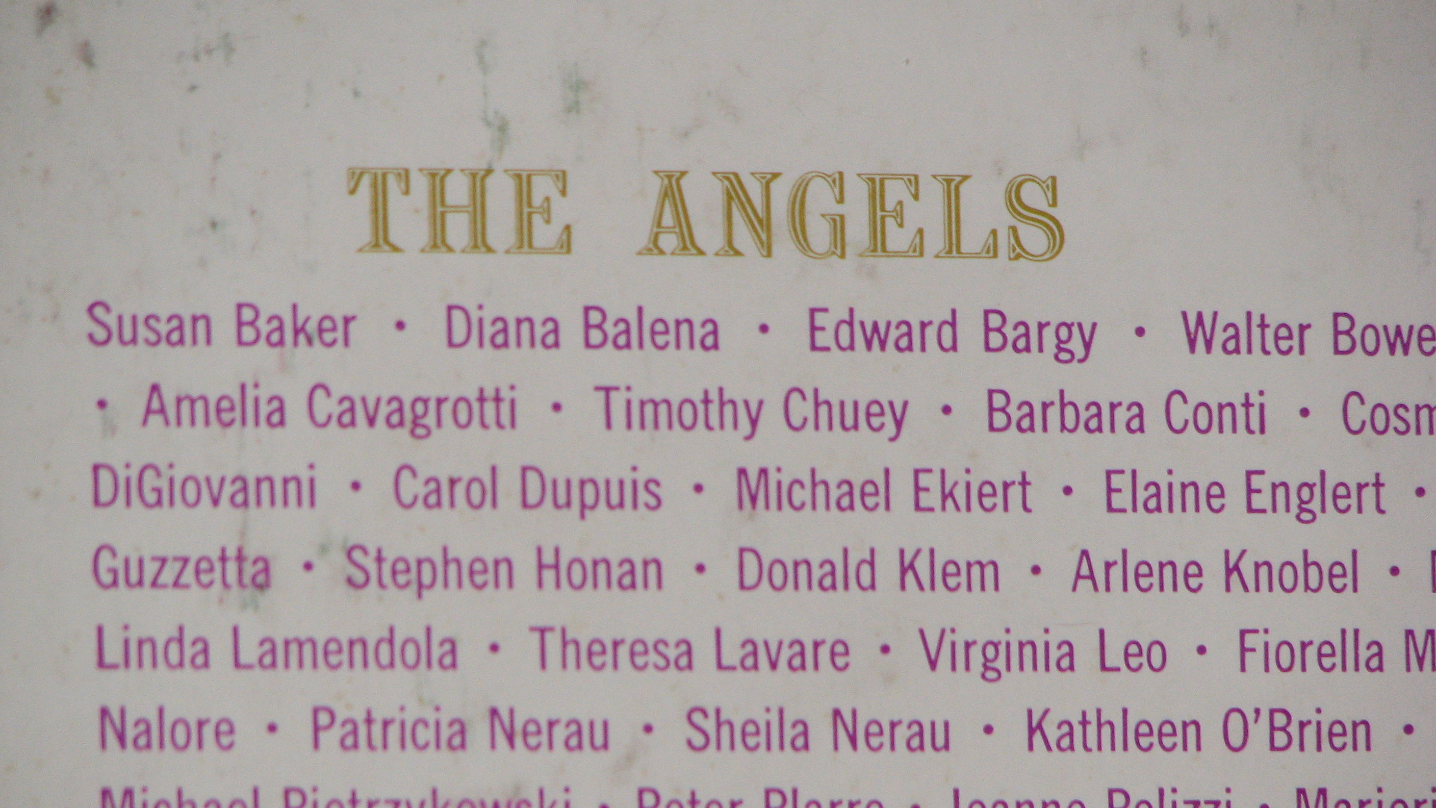 """Close-Up """"the Angel Choir"""" Album Cover Showing Names 