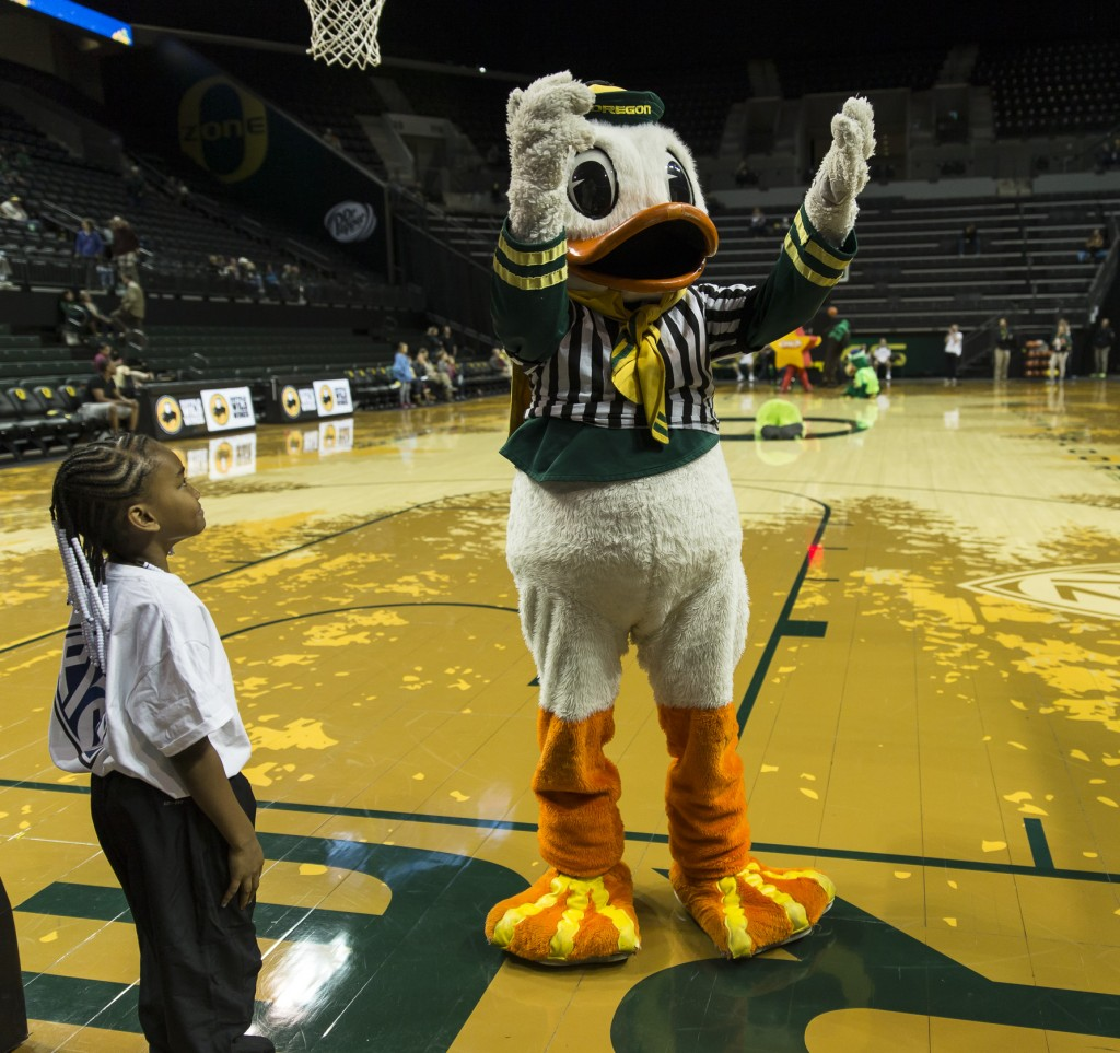 Duck is the referee for the mascot game Photo - Dave Peaks