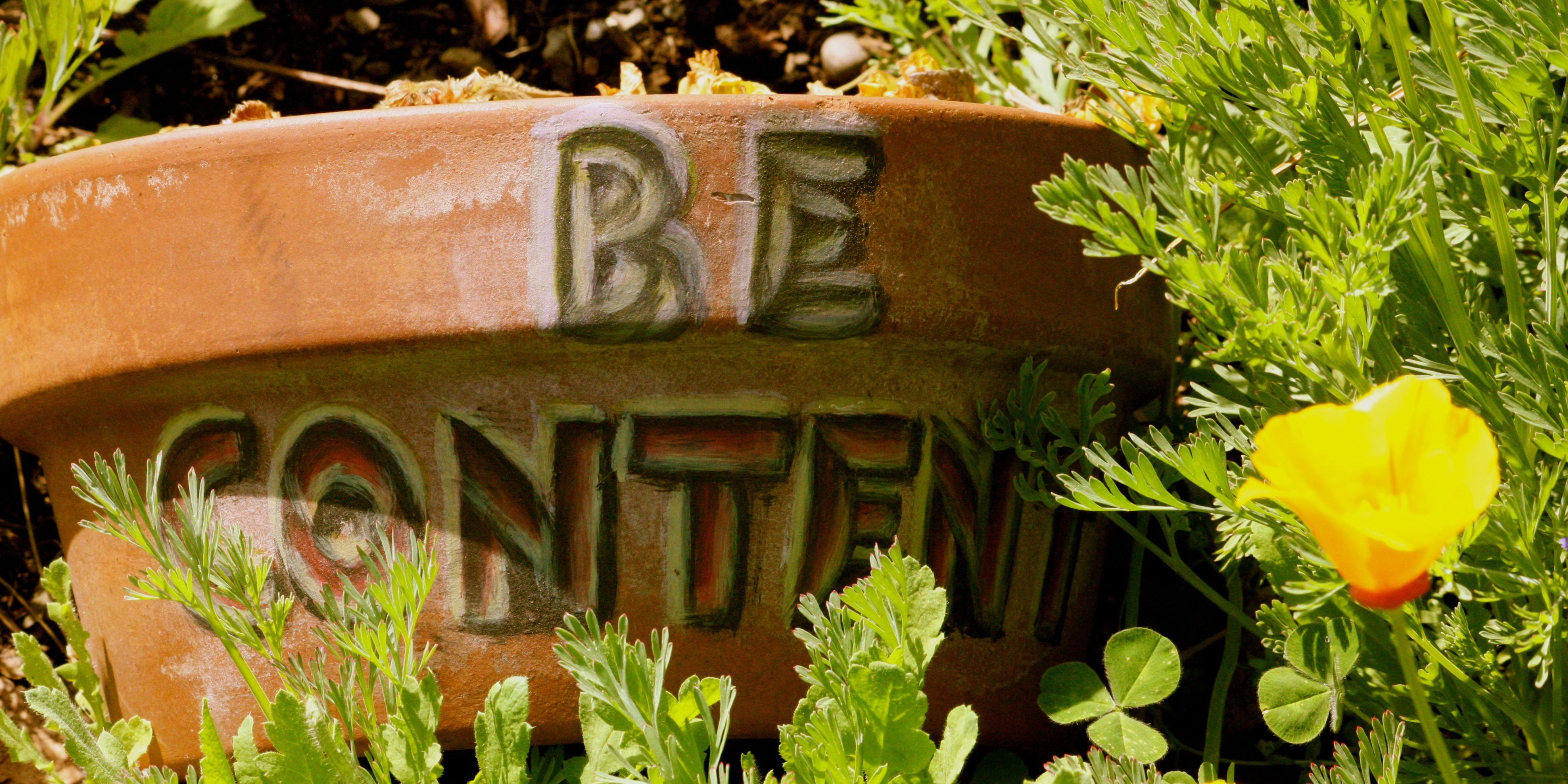 Be Content message at the Eugene Mission gardens