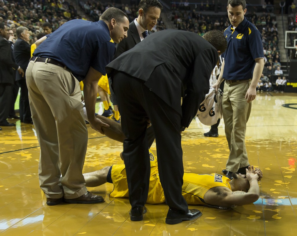 A Cal Bear in significant pain with a leg cramp Photo - Dave Peaks