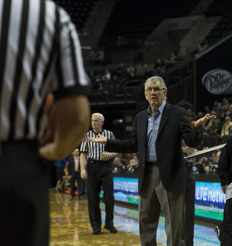 Coach Westhead questioning the call or no call Photo - Dave Peaks