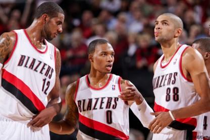 Trail Blazers Trio - NBAE-Getty Images