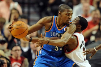 Wesley Matthews guarding Kevin Durant. -Steve Dykes-US PRESSWIRE