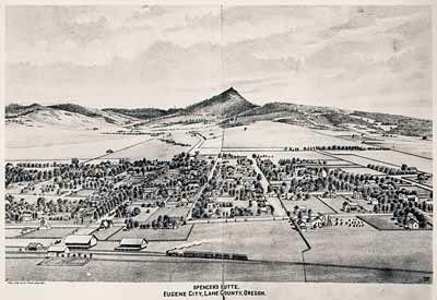 Photographic reproduction of a lithograph of Eugene, looking south toward Spencer Butte. Copied from Walling's History of Lane County (1884).