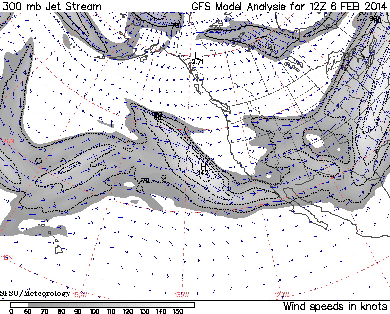 Jet Stream 4 AM 02/06/14 | Image by SFSU Meteorology From NOAA