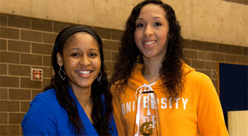 Maya Moore(left) and Mercedes Russell. Photo by Susan Goldman, Gatorade