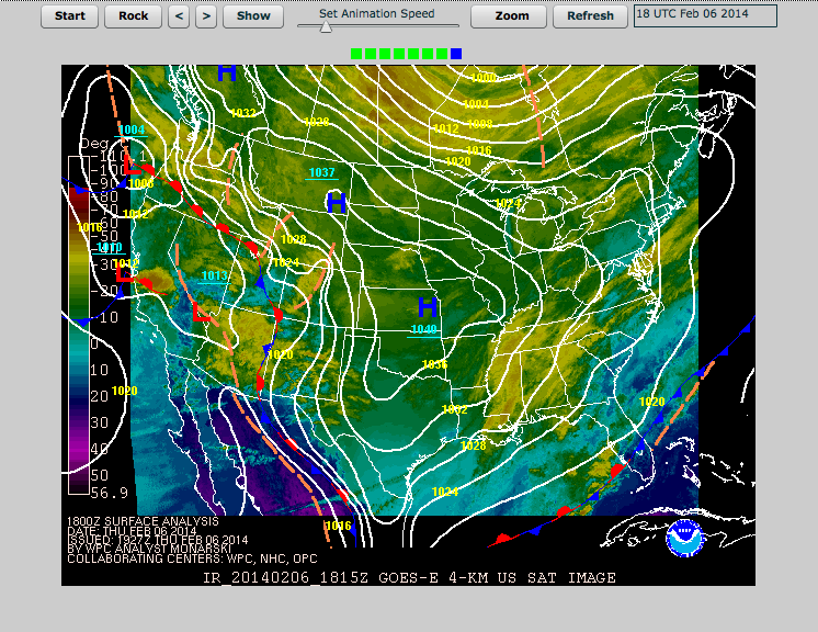 Surface Analysis Map From Thursday AM 2/6/14 | Image from The National Weather Service