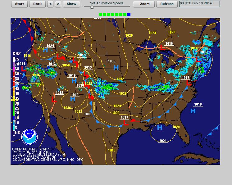 Surface Map 8:35 PM Sunday 2/9/14