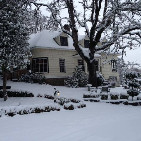 The Campbell House with snow