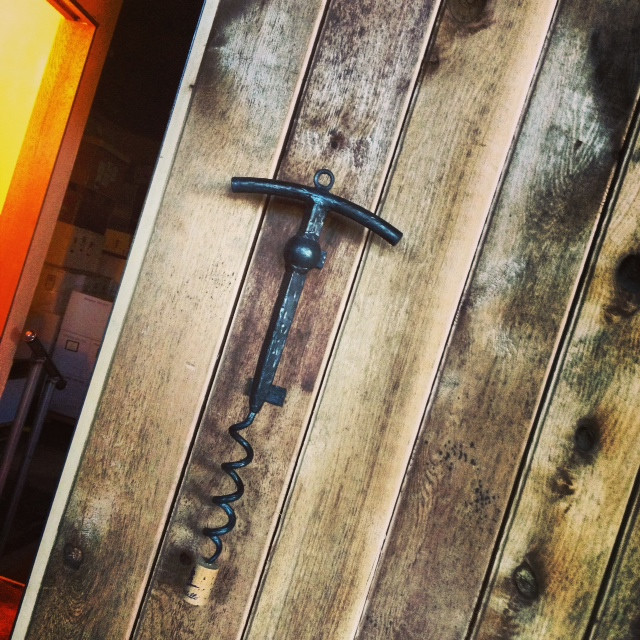 The striking corkscrew handle that adorns the slider door in the Capitello Tasting Room