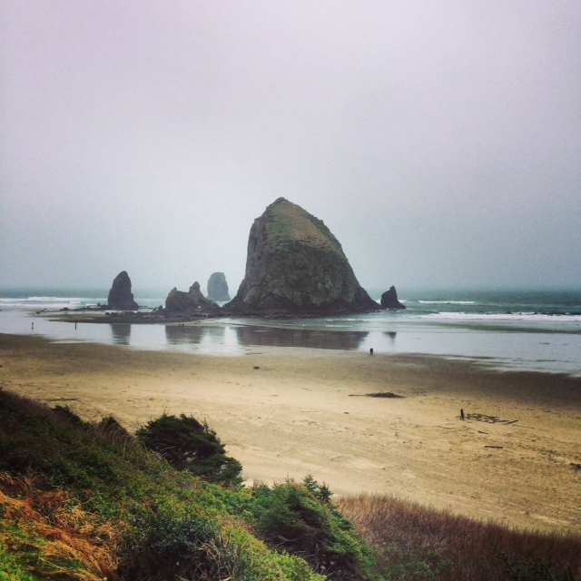 An unobstructed view of Haystack rock from my room at the Hallmark Resort was stunning