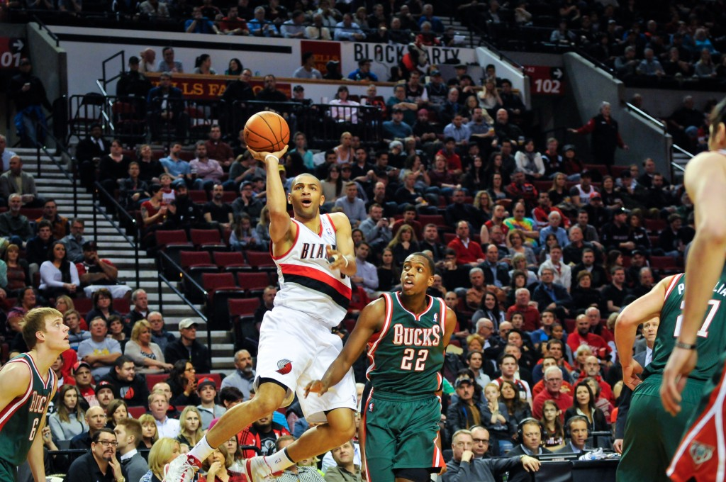 Nic Batum scores two of his 16 first quarter points. | (Photo: Craig Strobeck)