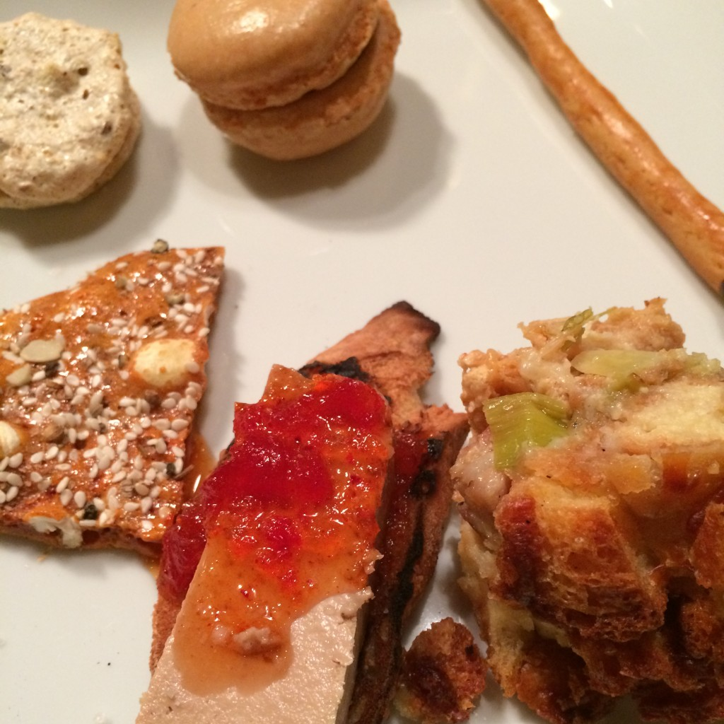 Clockwise from bottom right corner: Ham & Cheese Bread Pudding, chicken Liver, Corn Puff Honeycomb, Meringue, Macaroon and Pokey Stick