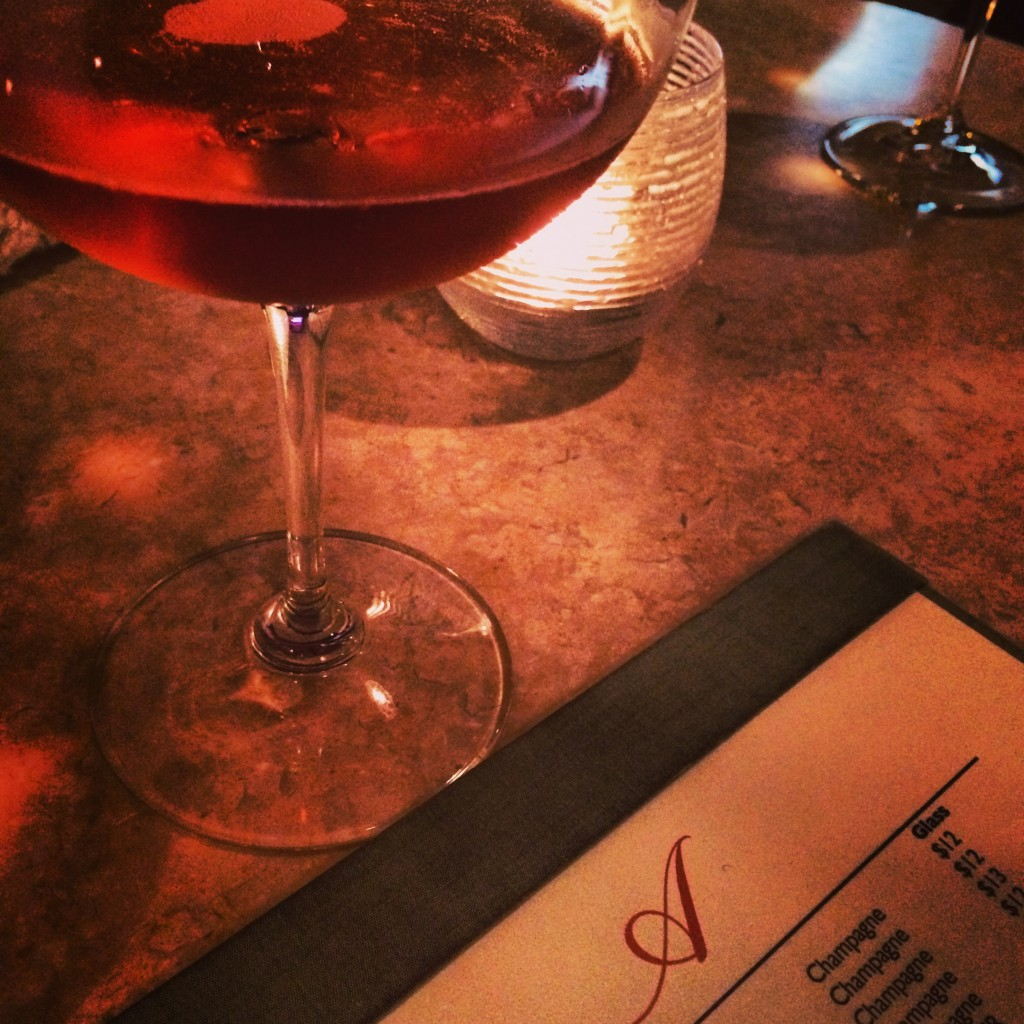 A delicious glass of Dampierre Brut Rosé at Ambonnay