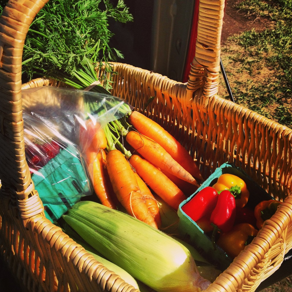 A basket full of locally grown goodies from Organic Redneck Farms