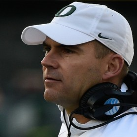 Head coach Mark Helfrich waits for players to return to the sideline. | Eugene Johnson/EDN
