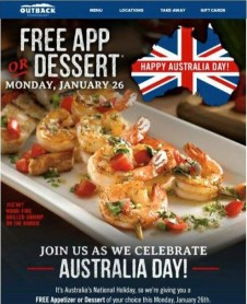 Outback Steakhouse Embarassed by Australia Day Promoiton featuring the incorrect flag.