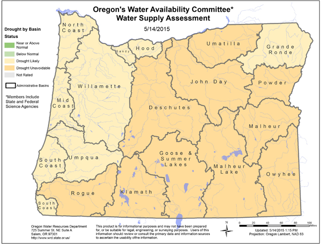 Oregon Water Supply By Basin | Image by