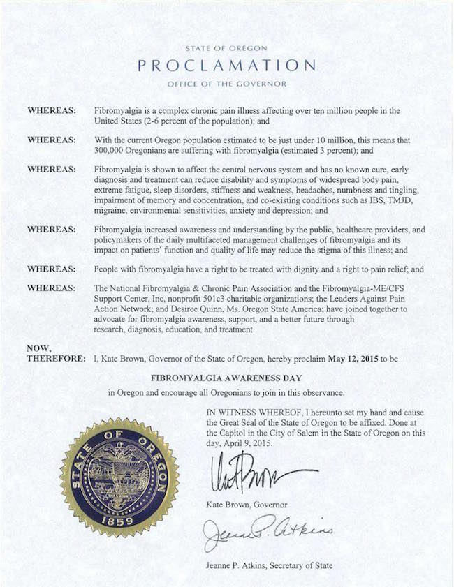 Signed proclamation for Fibromyalgia Awareness Day in Oregon