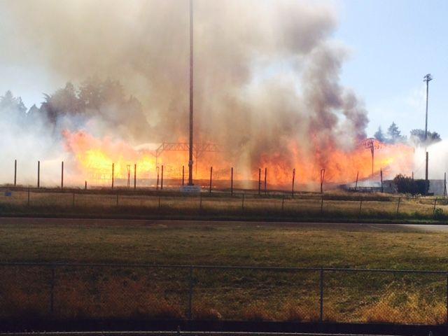 Civic Stadium Fire   Photo by klcc.org/John Stapelton