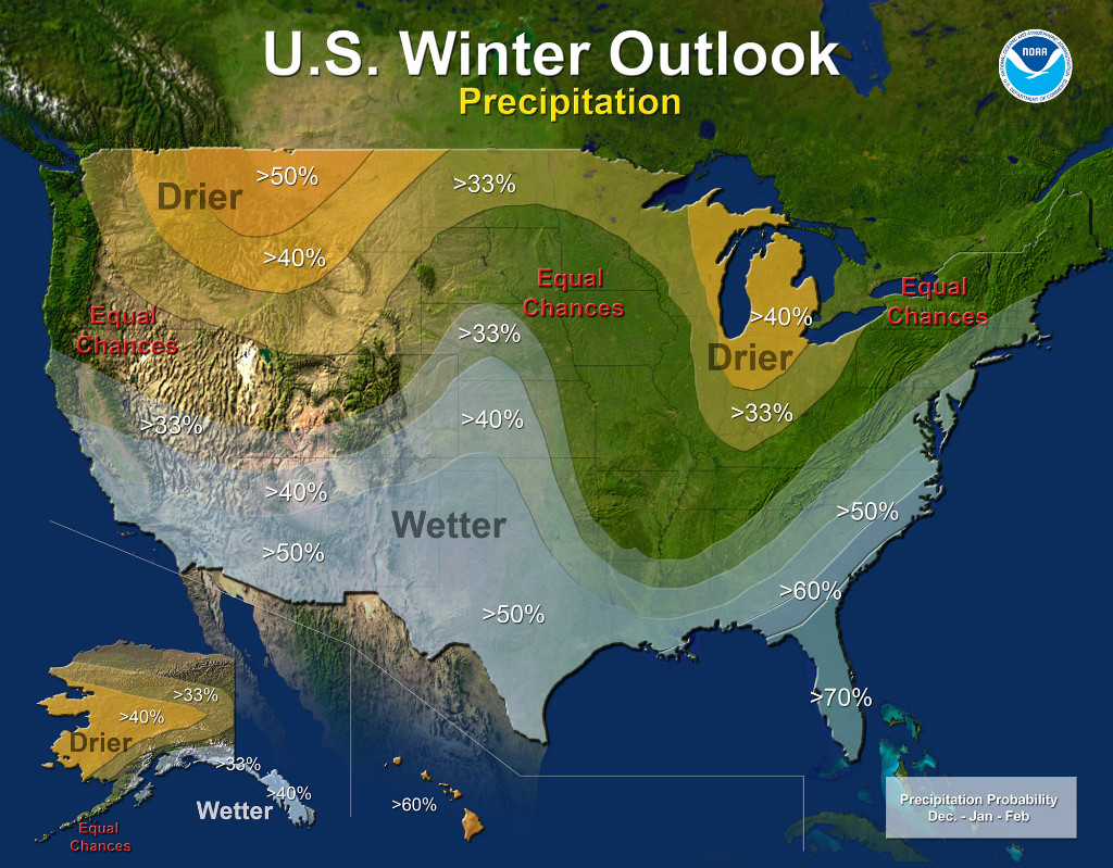 Winter Precipitation Outlook | Image by NOAA
