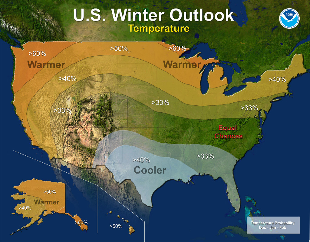 Winter Temperature Outlook | Image by NOAA