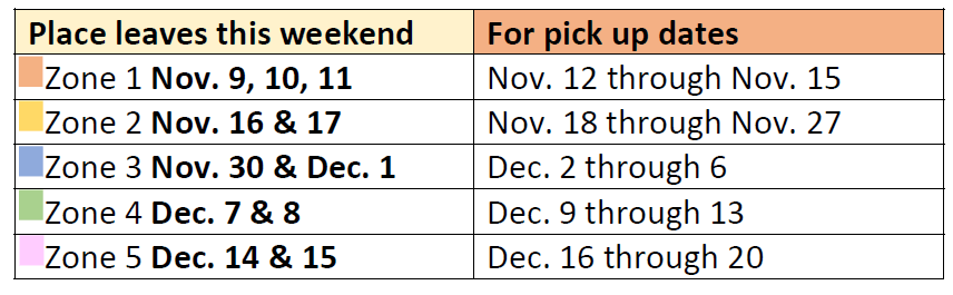Leaf Pickup Schedule